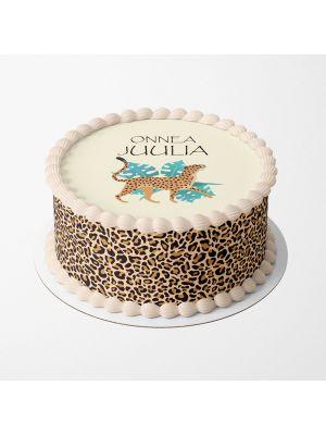 Henkilökohtainen Leopardi -kakkukuva vaikkapa synttäreihin.