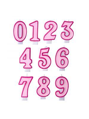 Vaaleanpunainen numerokakkukynttilä.