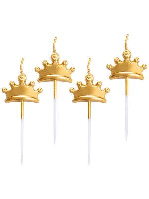 Kakkukynttilät - Kultaiset kruunut, 5 kpl.