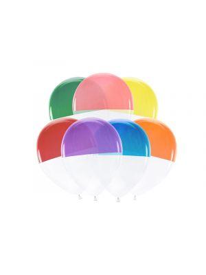 Hauskat läpinäkyvät ilmapallot jotka ovat puolittain värjätyt, 7 kpl.