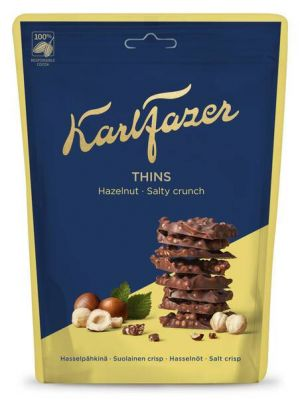 Karl Fazer Thins - Hazelnut Salty Crunch - Maitosuklaa ja hasselpähkinäpalat suolacrispillä, 90g.