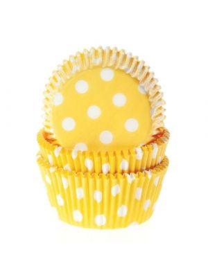 Keltaiset muffinssivuoat valkoisilla pilkuilla, 50 kpl.