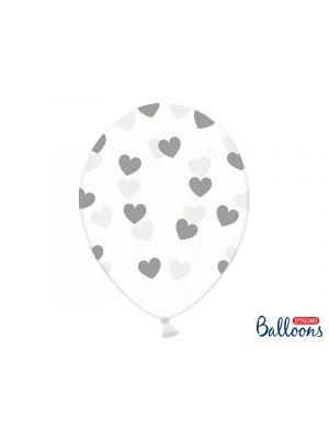 Kirkkaat ilmapallot hopeisilla sydämillä - 30cm, 6kpl