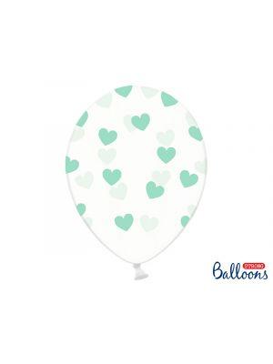 Kirkkaat ilmapallot mintunvärisillä sydämillä - 30cm, 6kpl