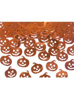 Kiiltävät oranssinväriset kurpitsa konfetit, 15g. Halloween.