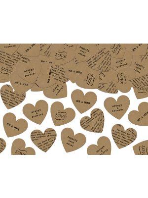Sydämenmuotoiset paperikonfetit erilaisilla teksteillä, 3g.