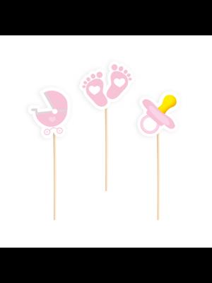 Cocktailitikut, Vauva Baby Shower, Vaaleanpunaiset, 6 kpl.