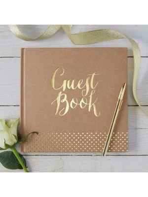 """Kaunis rustiikkinen vieraskirja kultaisella tekstillä """"Guest Book""""."""