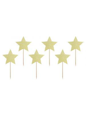 Koristetikut kultaisella glitter-tähdellä. 6 kpl tähtitikkuja
