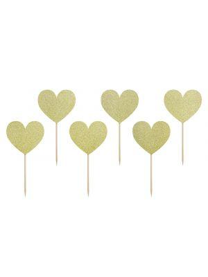 Sydämenmuotoiset koristetikut, kultaglitter, 6 kpl.
