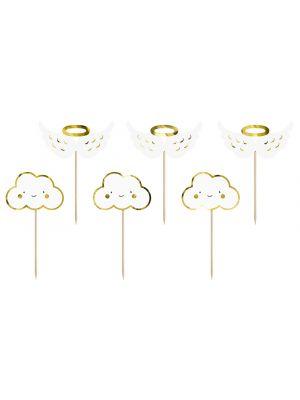 Kakkukoristeet, muffinsikoristeet, koristetikut pilvet ja siivet