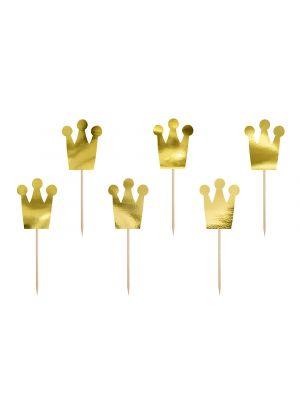 Koristetikut, 6 kpl kullanvärisiä kruunuja.