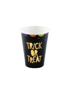 Halloween pahvimukit trick or treat tekstillä, 6 kpl.