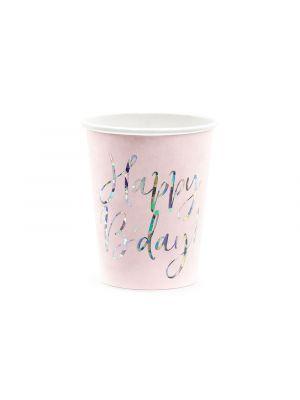"""Vaaleanpunaiset paperimukit holografisella tekstillä """"Happy B´day"""", 6 kpl."""