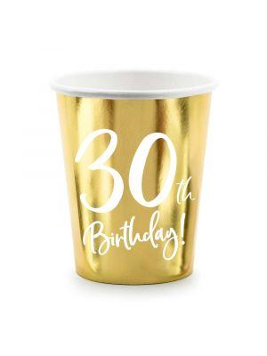 Kultaiset pahvimukit, 30th Birthday, 6kpl