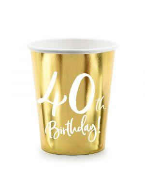 """Kultaiset pahvimukit 40-vuotisjuhliin, tekstillä """"40th Birthday!"""""""