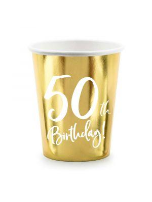 """Kultaiset pahvimukit 50-vuotisjuhliin, tekstillä """"50th Birthday!"""""""