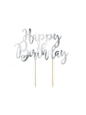 """Hopeanvärinen kakkukoriste """"Happy Birthday""""."""