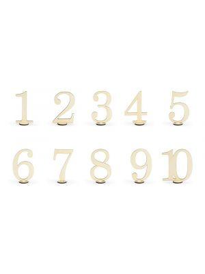Hienot puiset pöytänumerot, numerot 1-10.