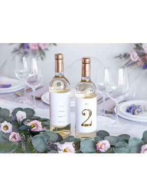 Tarra-pöytänumerot joita kiinnitetään pulloihin, 1-15.