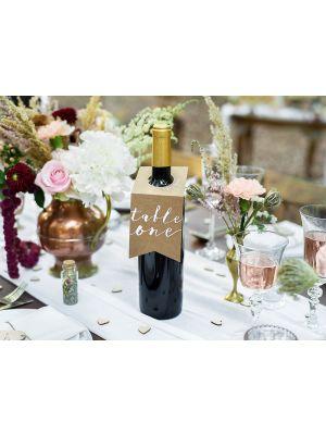 Pahviset pulloon ripustettavat pöytänumerot, numerot 1-10.