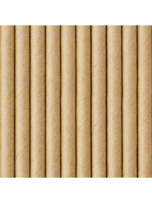 Paperipillit Kraft. 10 kpl luonnonvärisiä paperipilliä, 19,5 cm.