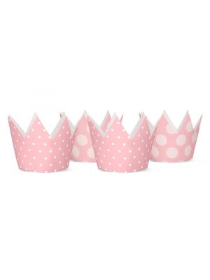Ihanat vaaleanpunaiset prinsessan kruunut, 4 kpl.