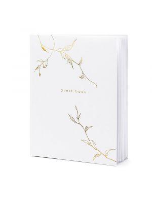 Kaunis valkoinen vieraskirja kultaisella tekstillä.