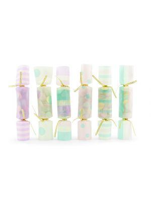 6 kpl pastellinsävyisiä Confetti Crackers.