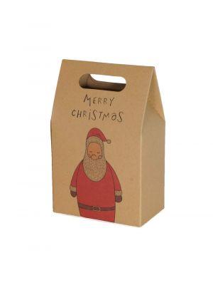 """Joulupukki lahjapussi tekstillä """"Merry Christmas""""."""