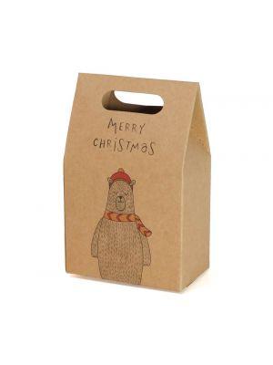 "Karhu-lahjapussi tekstillä ""Merry Christmas""."