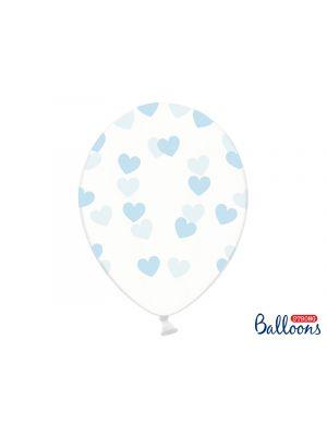 Kirkkaat ilmapallot sinisillä sydämillä - 30cm, 6kpl