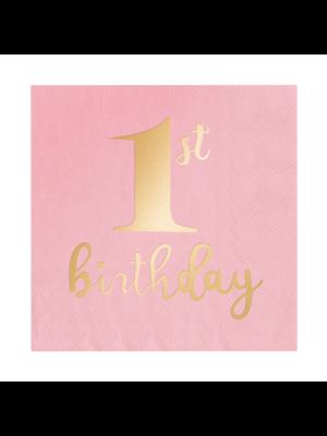"""Vaaleanpunaiset lautasliinat kultaisella foliotekstillä """"1st birthday"""", 10 kpl."""