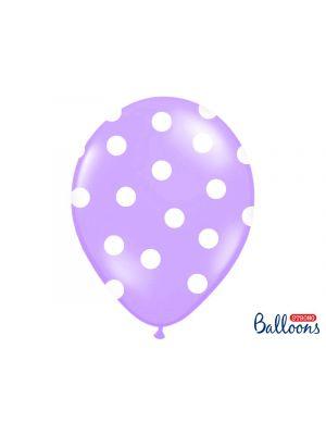 Violetit ilmapallot isoilla valkoisilla pilkuilla- 30cm, 6kpl