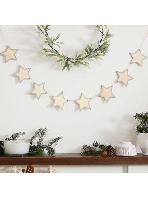 Puinen joulukoriste, tähti-viiri, 1,5m
