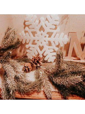 Valkoiset Glitter Lumihiutaleet, 20cm, 6kpl