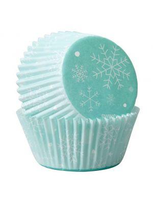 Wiltonin talviteemaiset muffinissivuoat lumihiutalekuviolla, 75 kpl.