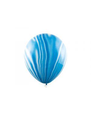 Laadukkaat marmori-kuvioidut ilmapallot valkoisissa ja sinisissä sävyissä - 30cm, 6kpl.