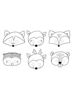 Metsän eläimet; piirrettävät paperinaamat.