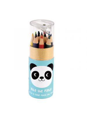 Puuvärit panda kuviollla, 12 kpl kynää ja yksi teroitin.