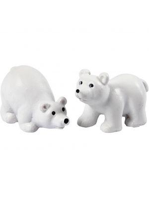 Mini-jääkarhut, 2 kpl. Askarteluun tai minatyyri maailmaan.