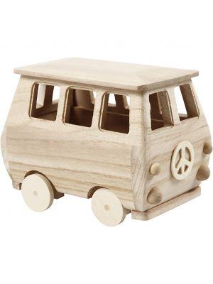 Pieni miniatyyri bussi koristeltavaksi. Askartelu.