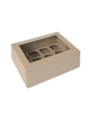 Pahvista tehty ikkunallinen minimuffinilaatikko jossa on paikkaa 12:lle minimuffineille. Pakkauksessa 2 laatikkoa.