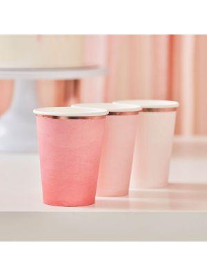 Pahvimukit, Pink Blush, 8 kpl