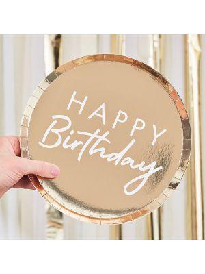 """Isot kultaiset kertakäyttölautaset tekstillä """"Happy Birthday"""", 8 kpl."""