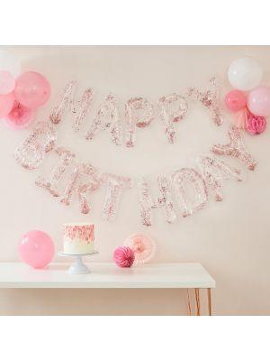 """Kirkas """"Happy Birthday""""-muotoinen foliopallo ruusukultaisella konfetilla."""