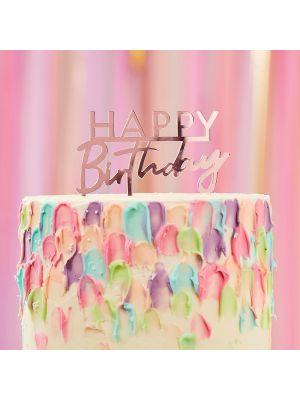 """Akryylinen ruusukultainen kakkukoriste """"Happy Birthday""""."""