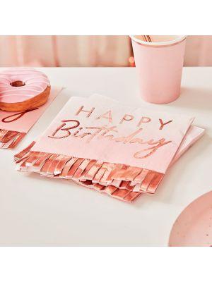 """Vaaleanpunaiset servetit #Happy Birthday"""" ruusukultaisilla hapsuilla, 16 kpl"""