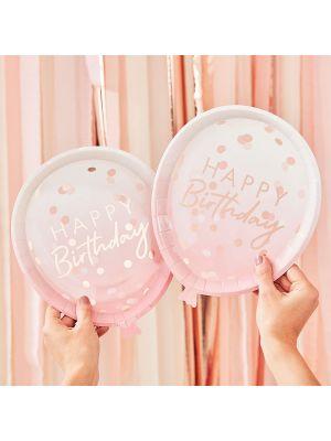 """Isot ilmapallonmuotoiset  vaaleanpunaiset kertakäyttölautaset ruusukultaisella tekstillä """"Happy Birthday"""", 8 kpl."""