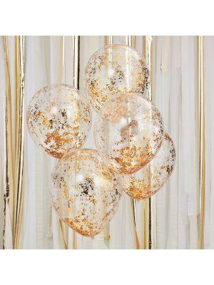 Konfetti ilmapallot ruusukullanvärisillä konfeteilla, 5 kpl.
